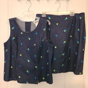 ✂️💲DROP - 2 pc Denim Top & Skirt